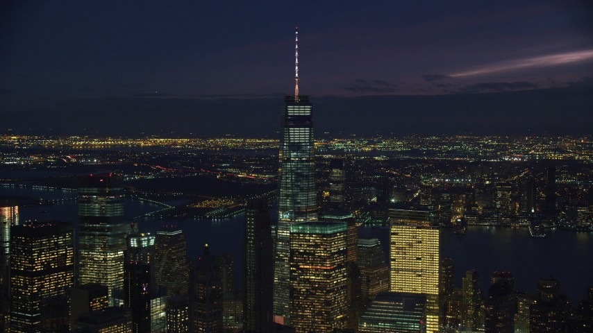 6K stock footage aerial video orbit One World Trade Center in Lower Manhattan, New York City at Night Aerial Stock Footage | AX121_160
