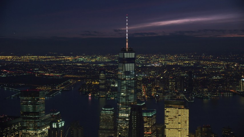Orbiting Freedom Tower in Downtown at Night in New York City Aerial Stock Footage | AX121_161