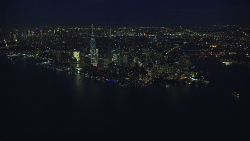 6K stock footage aerial video approach Lower Manhattan at Night, New York City Aerial Stock Footage | AX121_171