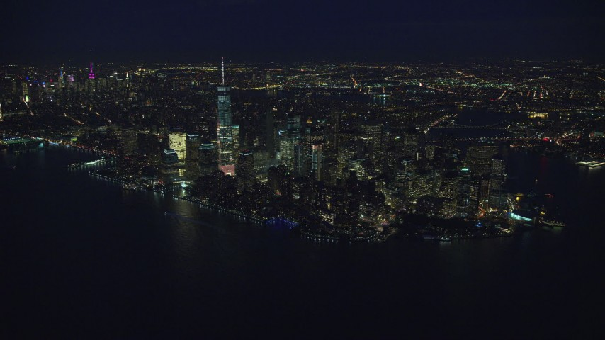 6K stock footage aerial video of approaching Lower Manhattan at Night in New York City Aerial Stock Footage | AX121_172