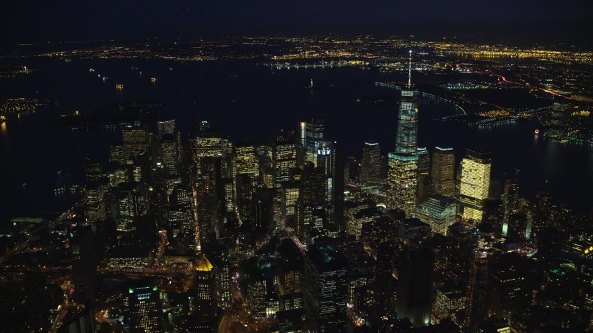 Orbit Skyscrapers of Lower Manhattan at Night in New York City Aerial Stock Footage | AX121_177
