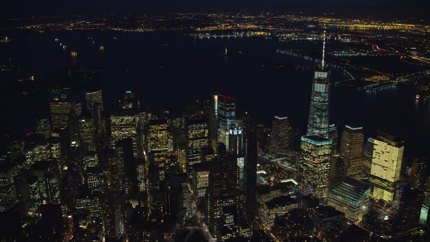 Approach High-Rises in Lower Manhattan at Night in New York City Aerial Stock Footage | AX121_178