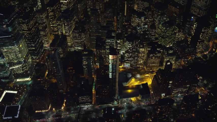 6K stock footage aerial video of a bird's eye view of Lower Manhattan at Night, New York City Aerial Stock Footage | AX121_182