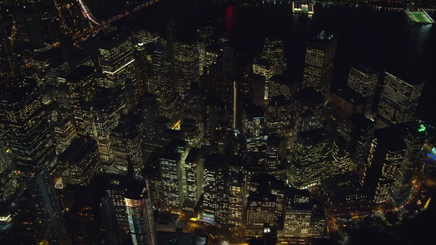6K stock footage aerial video of a bird's eye orbit of Lower Manhattan at Night in New York City Aerial Stock Footage | AX121_183