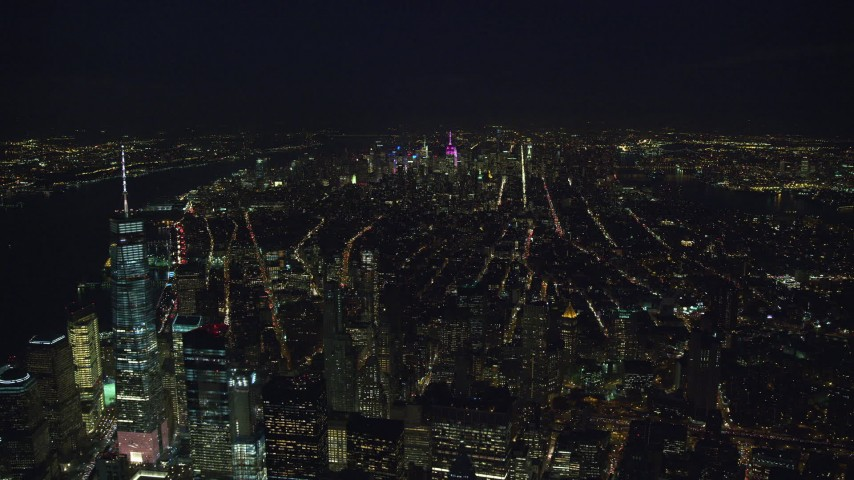 6K stock footage aerial video of Midtown seen from Freedom Tower at Night in New York City Aerial Stock Footage | AX121_185