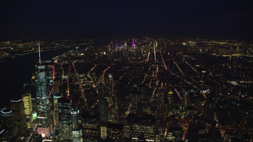 5.5K stock footage aerial video of Midtown seen from Freedom Tower at Night in New York City Aerial Stock Footage   AX121_185E