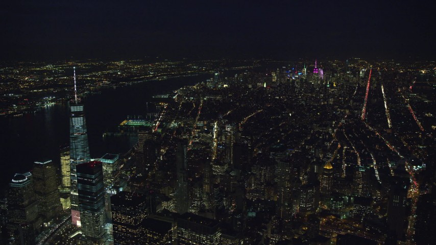 Midtown Manhattan and Freedom Tower at Night, New York City Aerial Stock Footage | AX121_186