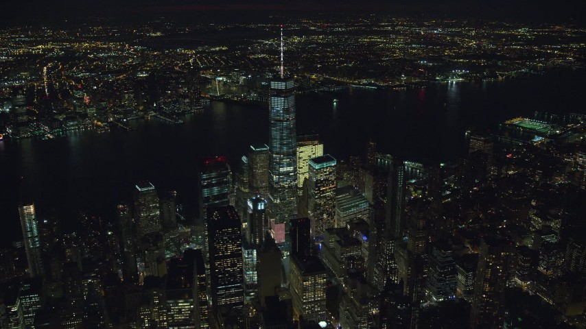 World Trade Center Skyscrapers at Night in Lower Manhattan Aerial Stock Footage | AX121_188