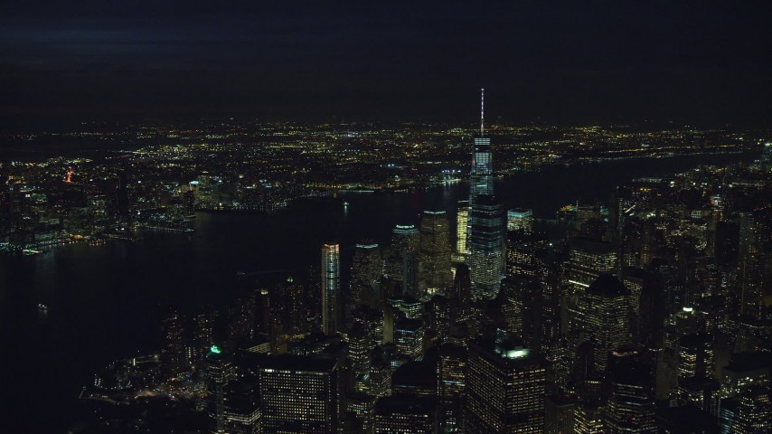 Orbit the World Trade Center at Night in Lower Manhattan Aerial Stock Footage | AX121_190