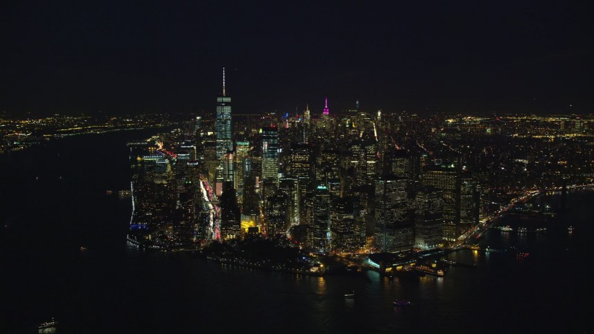 5.5K stock footage aerial video orbit the tip of Lower Manhattan at Night in New York City Aerial Stock Footage | AX121_193E