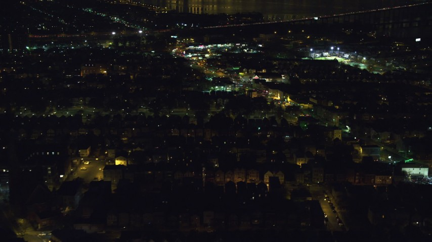 6K stock footage aerial video of a suburban neighborhood at Night in Jersey City, New Jersey Aerial Stock Footage | AX121_200