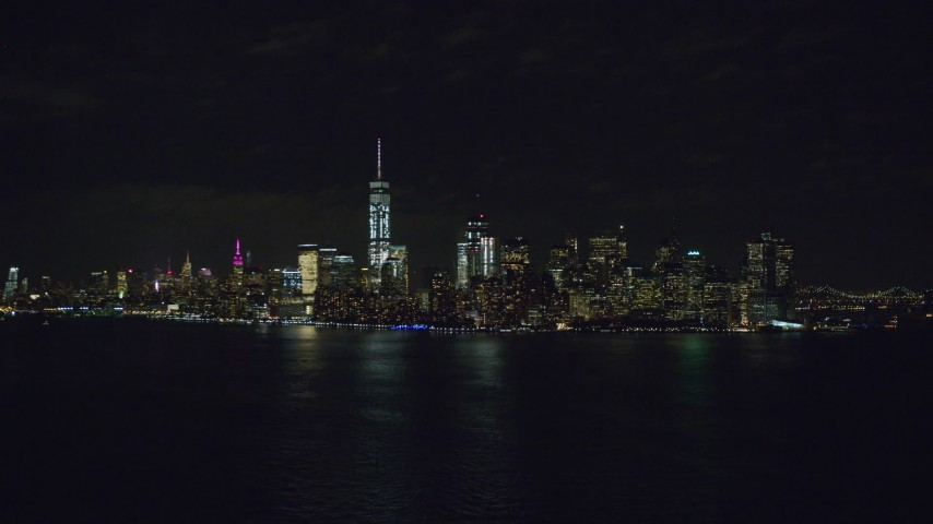 6K stock footage aerial video of the Lower Manhattan skyline at Night, New York City Aerial Stock Footage | AX122_024