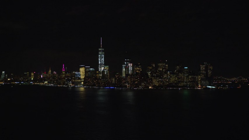 5.5K stock footage aerial video of the Lower Manhattan skyline at Night, New York City Aerial Stock Footage | AX122_024E