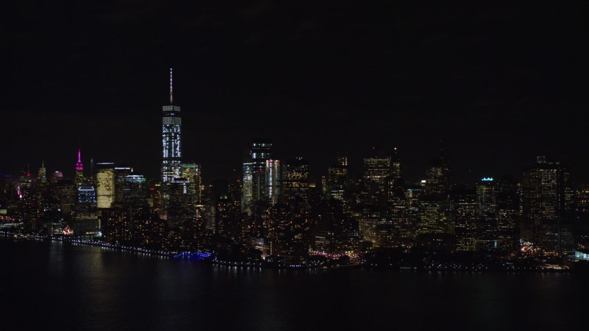 5.5K stock footage aerial video of approaching Lower Manhattan at Night in New York City Aerial Stock Footage | AX122_026E