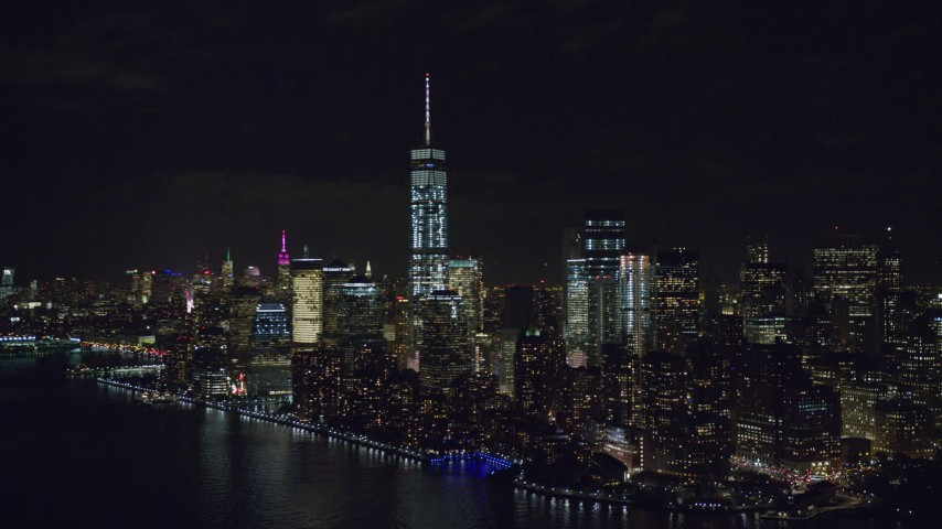 Approach World Trade Center Towers at Night in New York City Aerial Stock Footage | AX122_028