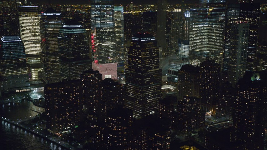World Trade Center Towers at Night in Lower Manhattan Aerial Stock Footage | AX122_030