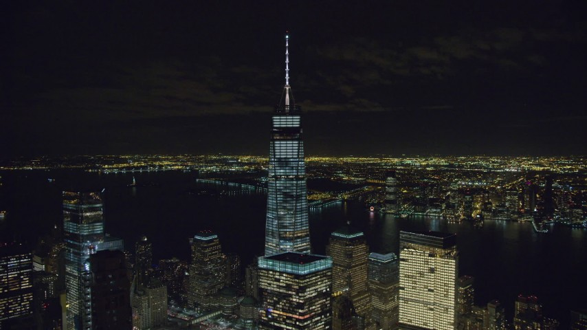 6K stock footage aerial video orbit around Freedom Tower at Night in Lower Manhattan, NYC Aerial Stock Footage   AX122_037
