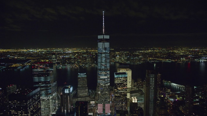 6K stock footage aerial video of a wide orbit of Freedom Tower at Night in Lower Manhattan, New York City Aerial Stock Footage | AX122_039