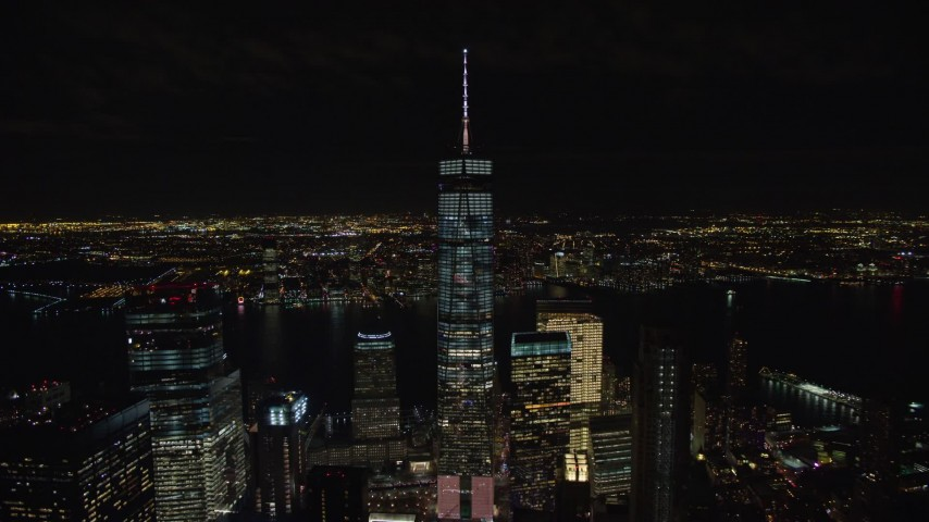 5.5K stock footage aerial video of a wide orbit of Freedom Tower at Night in Lower Manhattan, New York City Aerial Stock Footage | AX122_039E