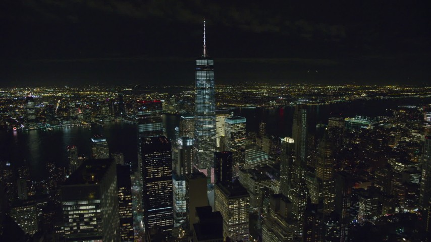 Fly Away from Freedom Tower at Night in New York City Aerial Stock Footage | AX122_040