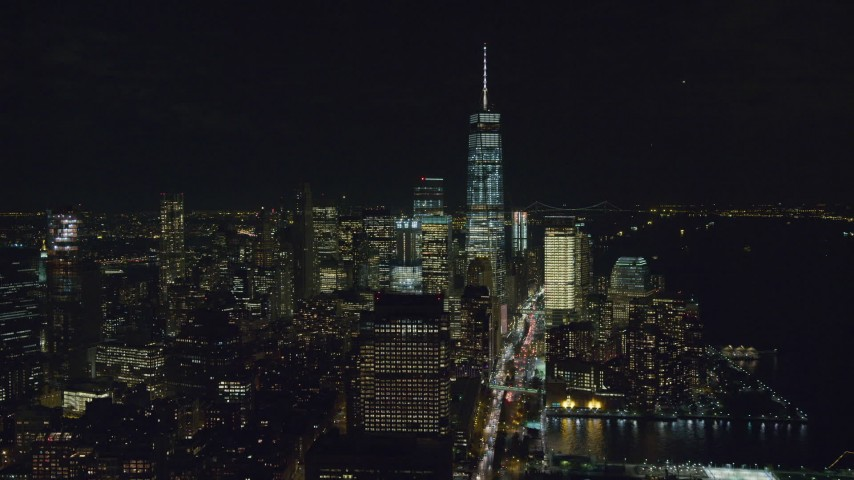 Approach Freedom Tower and Lower Manhattan at Night in NYC Aerial Stock Footage | AX122_059