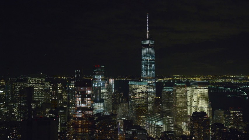 Orbit Freedom Tower at Night in Lower Manhattan Aerial Stock Footage | AX122_062