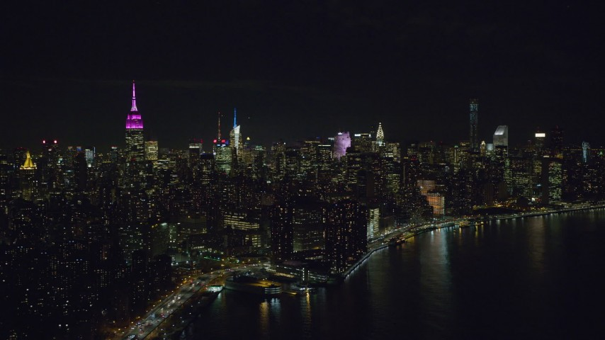Midtown High-Rises at Night in New York City Aerial Stock Footage | AX122_073