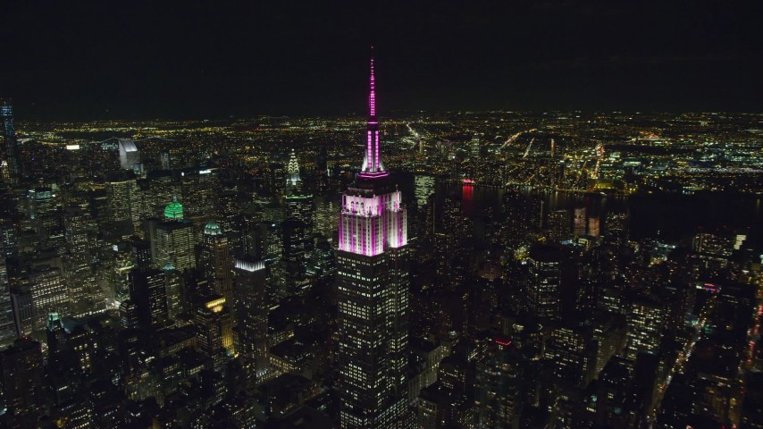 6K stock footage aerial video orbit the Empire State Building at Nighttime in Midtown Manhattan, NYC Aerial Stock Footage   AX122_088