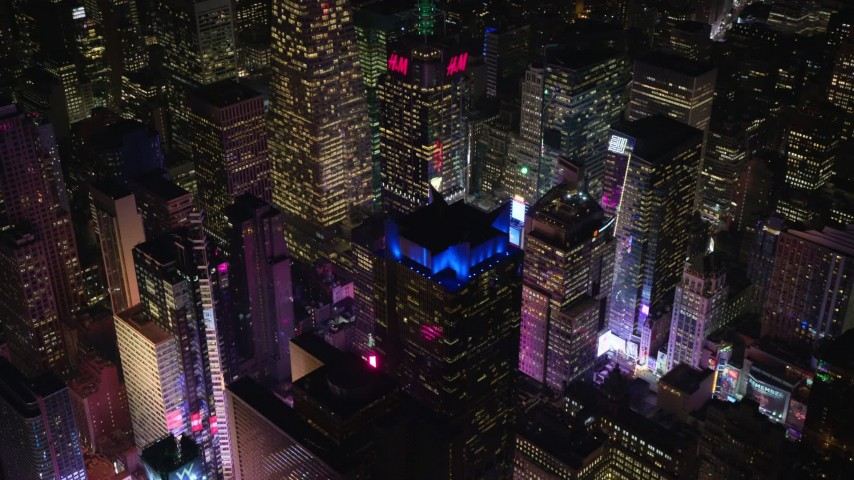 6K stock footage aerial video orbit Times Square at Night in Midtown Manhattan, NYC Aerial Stock Footage | AX122_124