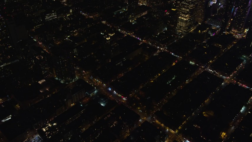 Orbit City Streets in Hell's Kitchen at Night in Midtown Manhattan Aerial Stock Footage | AX122_128