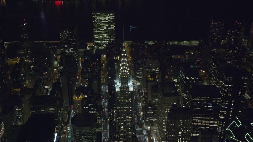 Orbit Top of Chrysler Building at Night in NYC Aerial Stock Footage | AX122_139