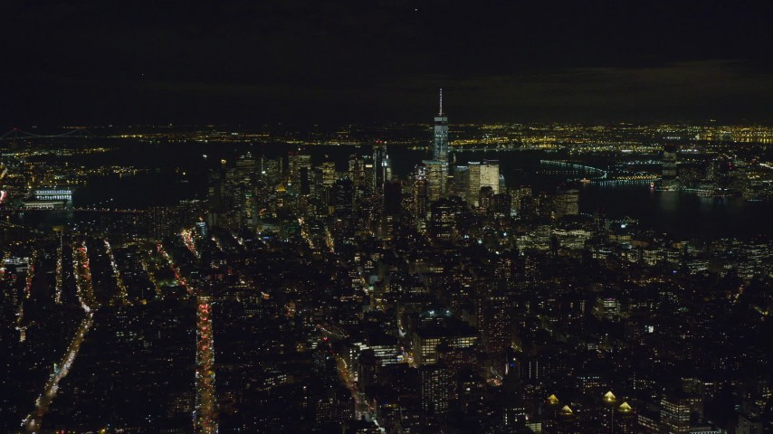 Lower Manhattan Seen from Gramercy at Night in NYC Aerial Stock Footage | AX122_142