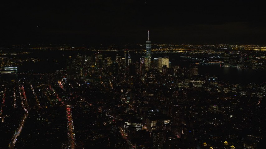 5.5K stock footage aerial video of Lower Manhattan skyscrapers seen from Gramercy at Night in NYC Aerial Stock Footage | AX122_142E