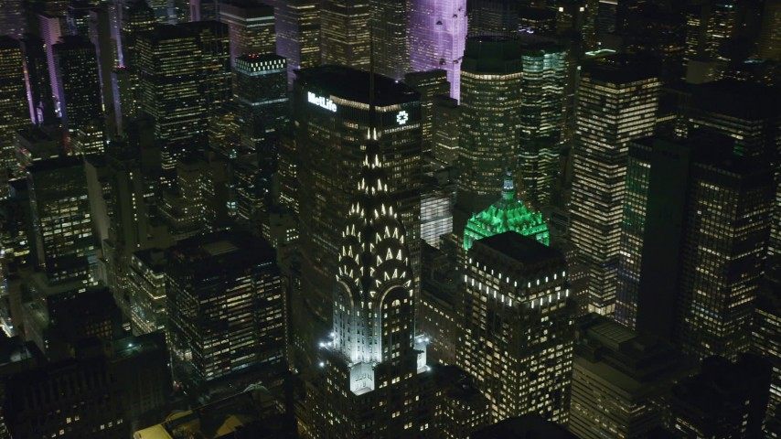 Orbit of the Chrysler Building at Nighttime in NYC Aerial Stock Footage | AX122_159