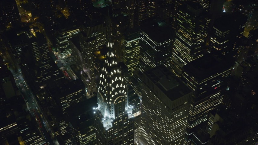 Orbit Around the Chrysler Building at Nighttime in NYC Aerial Stock Footage | AX122_163