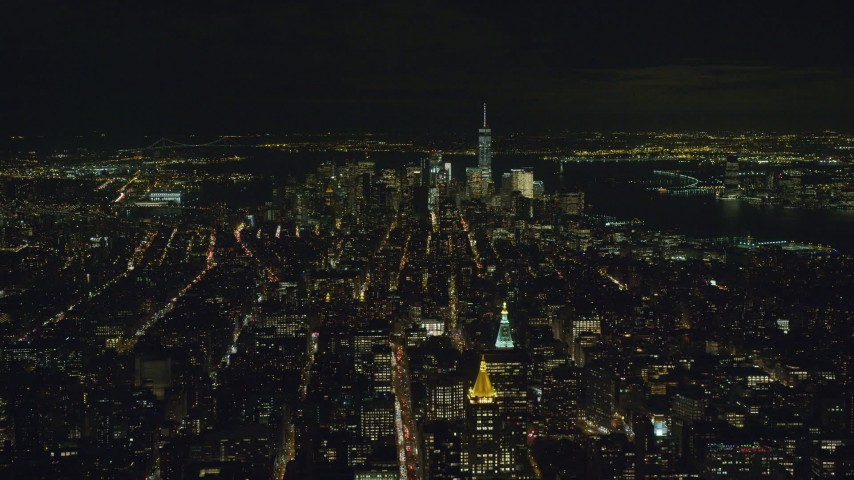 6K stock footage aerial video approach Lower Manhattan from Midtown at Night in New York City Aerial Stock Footage | AX122_164