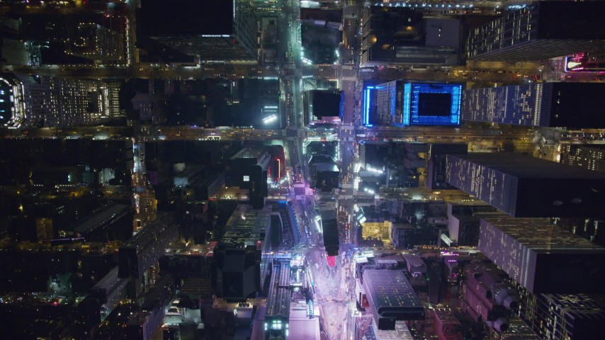 6K stock footage aerial video of a bird's eye view of famous Times Square at Nighttime in Midtown Manhattan, New York City Aerial Stock Footage | AX122_178