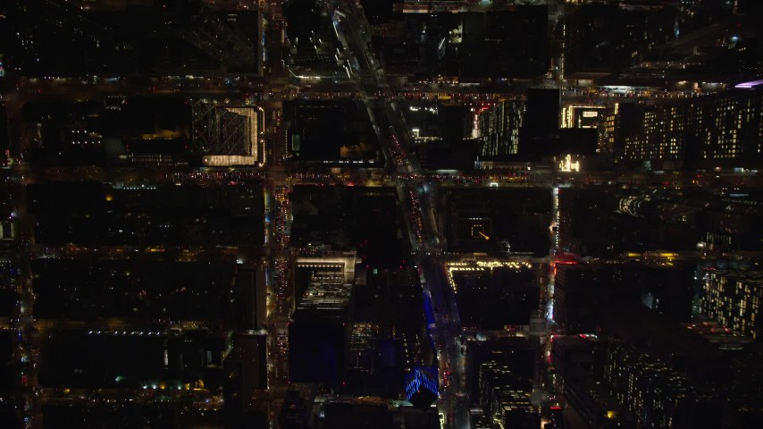 6K stock footage aerial video of a bird's eye of Midtown streets at Night in New York City Aerial Stock Footage | AX122_179