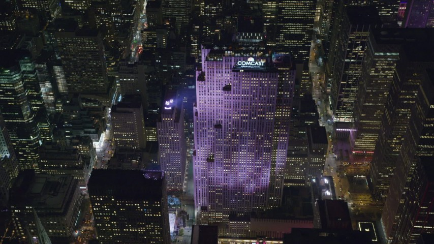 Orbit of Rockefeller Center at Night in NYC Aerial Stock Footage | AX122_200