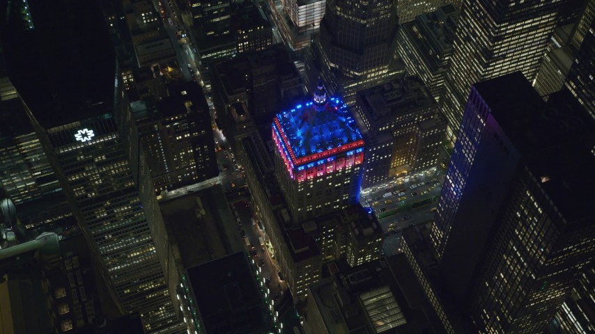 6K stock footage aerial video of circling the Helmsley Building at Night in Midtown Manhattan, NYC Aerial Stock Footage | AX122_208