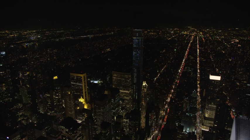 5.5K stock footage aerial video approach and orbit 432 Park Avenue skyscraper at Night in Midtown Manhattan, New York City Aerial Stock Footage | AX122_209E