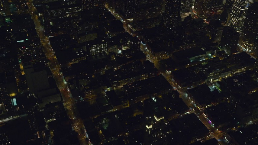 6K stock footage aerial video orbit Hell's Kitchen streets and apartments at Night in Midtown Manhattan, New York City Aerial Stock Footage | AX122_216