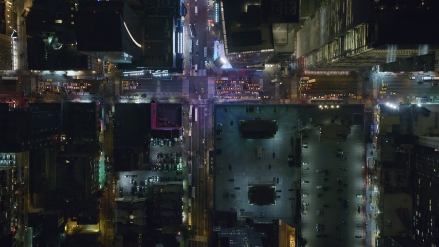 6K stock footage aerial video of a bird's eye view of 42nd Street at Night in Midtown Manhattan, New York City Aerial Stock Footage | AX122_223