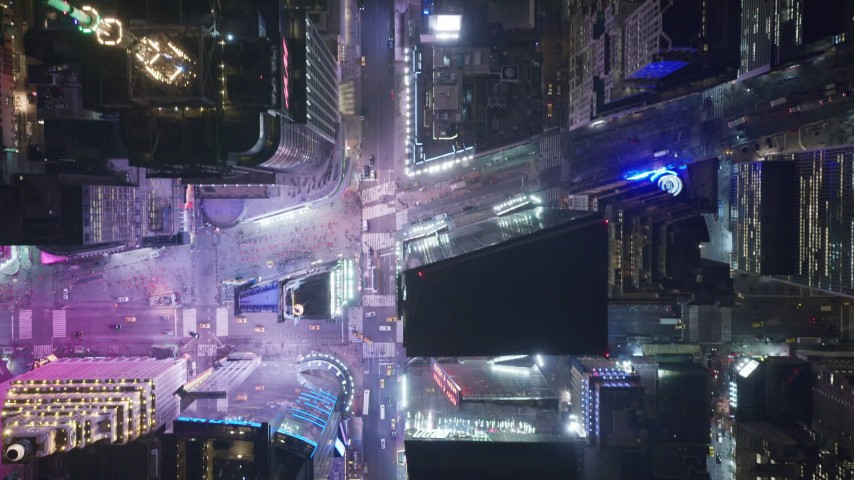 Bird's Eye View of 42nd Street Revealing Times Square at Night Aerial Stock Footage | AX122_224