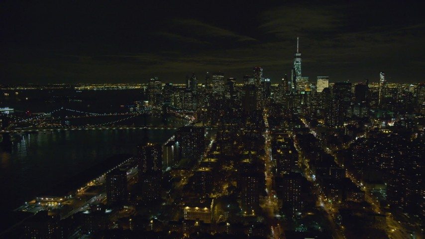 6K stock footage aerial video orbit Lower Manhattan at Night in New York City Aerial Stock Footage | AX122_257