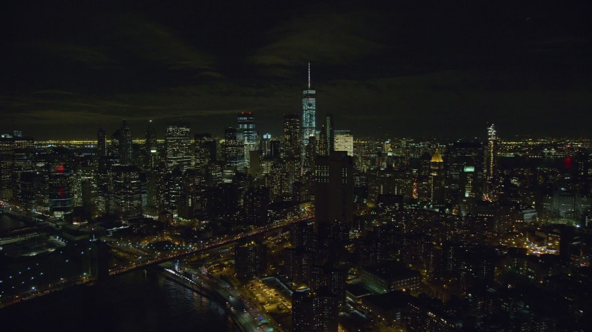 6K stock footage aerial video orbit of Lower Manhattan at Night in New York City Aerial Stock Footage | AX122_260