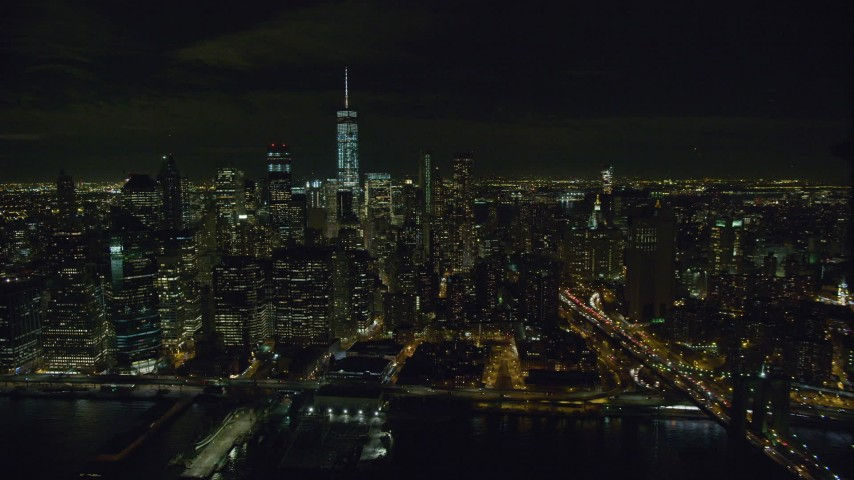 6K stock footage aerial video of orbiting Lower Manhattan skyscrapers at Night in New York City Aerial Stock Footage | AX122_262