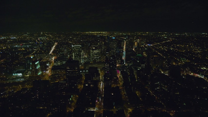 6K stock footage aerial video of orbiting skyscrapers in downtown area of Brooklyn at Night, New York City Aerial Stock Footage | AX122_263