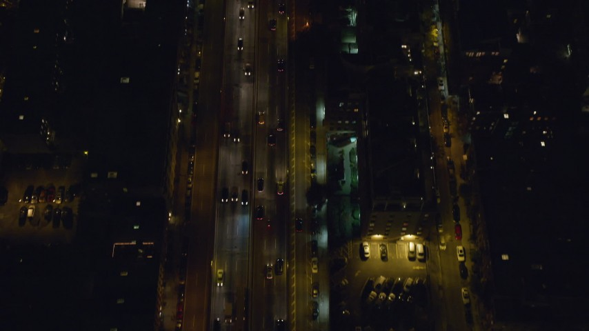 6K stock footage aerial video of a bird's eye view of Brooklyn Queens Freeway at Night, NYC Aerial Stock Footage | AX122_266