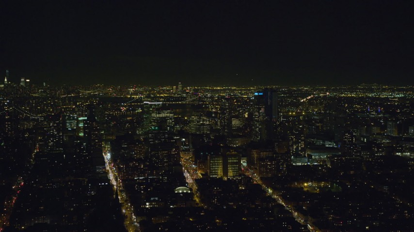 6K stock footage aerial video of orbiting skyscrapers in Brooklyn at Night in NYC Aerial Stock Footage | AX122_268